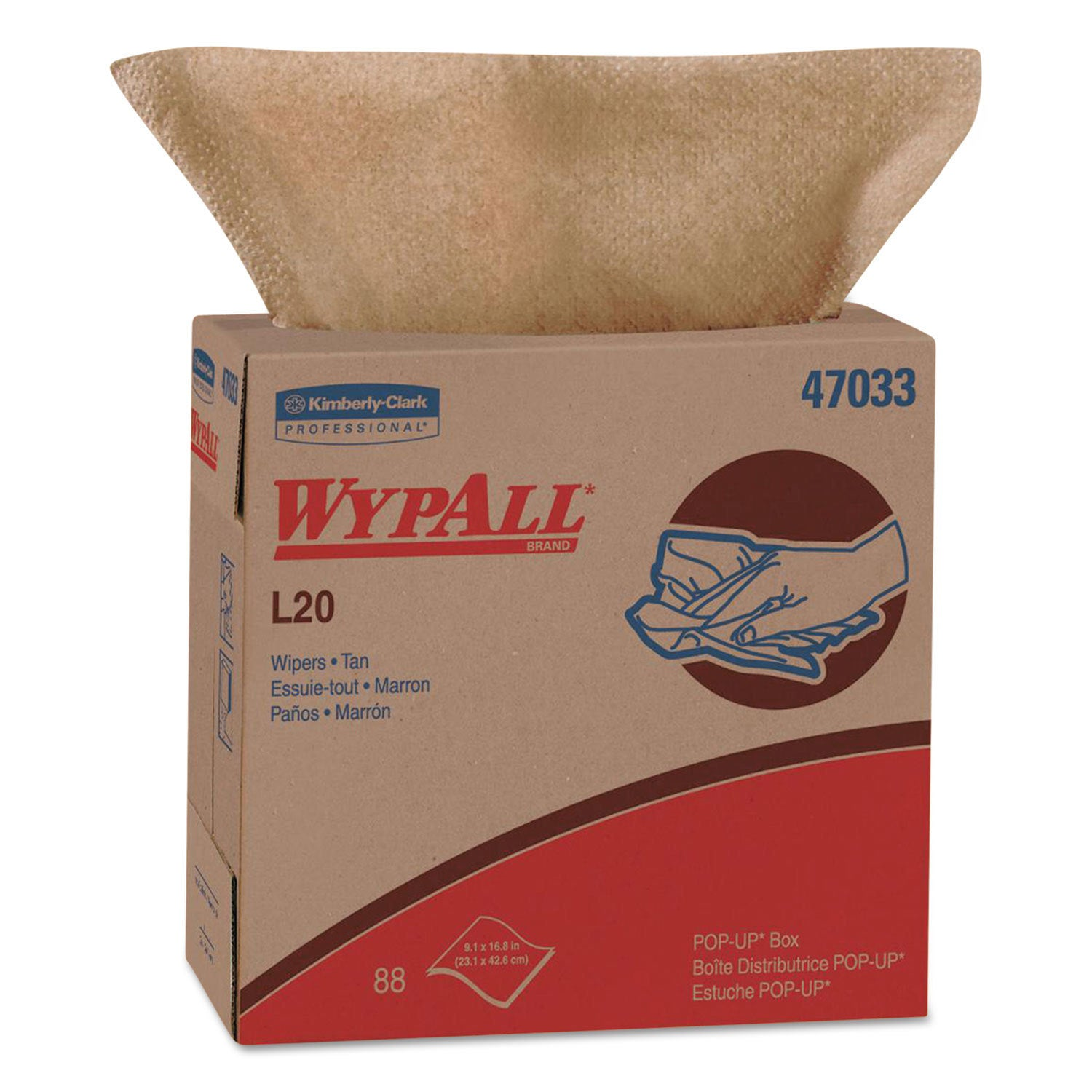 Wypall L20 Wipers 9 1/10 x 16 4/5 Brown 88/POP-UP Box 10 ...