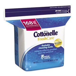 Cottonelle Fresh Care Flushable Cleansing Cloths White 5x7 1/4 168/Pack 8 Pack/Carton