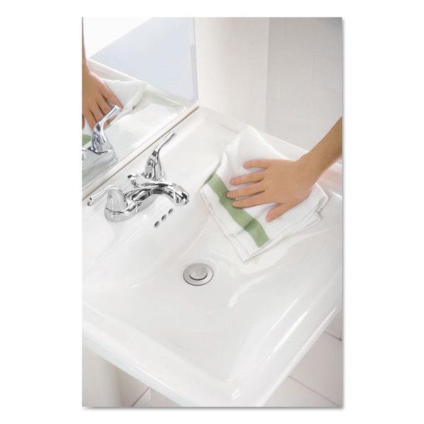 Rubbermaid Commercial HYGEN HYGEN Sanitizer Safe Microfiber Cloth 16 x 19 White/Green 288/Carton -  RUBBERMAID COMMERCIAL PROD., 1805730