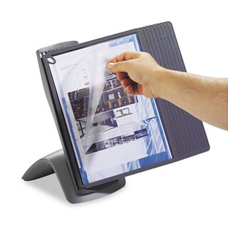 Durable SHERPA Style Desk Reference System 20 Sheet Capacity Titanium