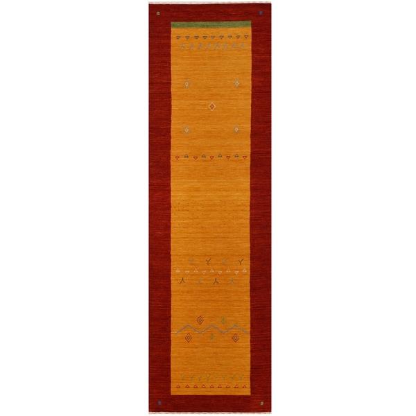 Handmade Herat Oriental Indoed Tribal Gabbeh Wool Runner - 2'6 x 8' (India)