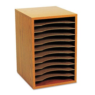Safco Wood Vertical Desktop Sorter 11 Sections 10 5/8 x 11 7/8 x 16 Medium Oak