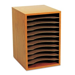 Safco Wood Vertical Desktop Sorter 11 Sections 10 5/8 x 11 7/8 x 16 Medium Oak
