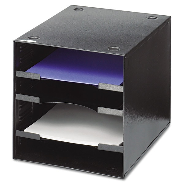 Safco Steel Desktop Sorter Four Compartments Steel 11 x 12 x 10 Black