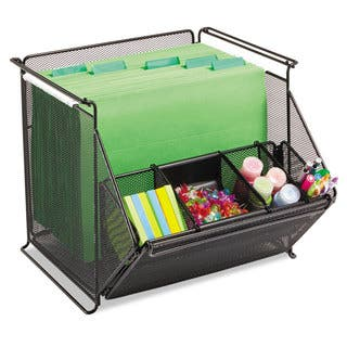 Safco Onyx Stackable Mesh Storage Bin 4-Compartment 14 x 15 1/2 x 11 3/4 Black|https://ak1.ostkcdn.com/images/products/13927464/P20560226.jpg?impolicy=medium