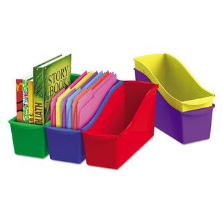 Storex Interlocking Book Bins 4 3/4 x 12 5/8 x 7 5 Color Set Plastic