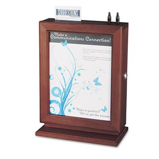 Safco Customizable Wood Suggestion Box 10 1/2 x 5 3/4 x 14 1/2 Mahogany