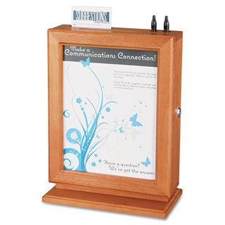 Safco Customizable Wood Suggestion Box 10 1/2 x 5 3/4 x 14 1/2 Cherry