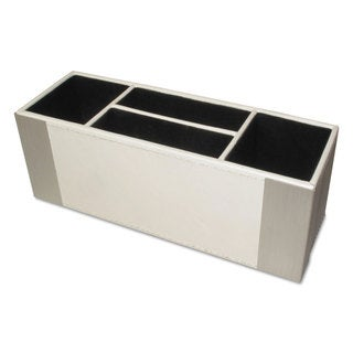 Artistic Architect Line Supply Caddy 4-Compartment 3 x 8 3/4 x 3 White/Silver