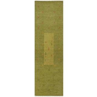 Herat Oriental Indo Hand-loomed Tribal Gabbeh Wool Runner (2'6 x 8')