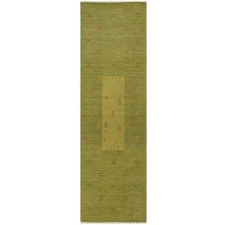 Herat Oriental Indo Hand-loomed Tribal Gabbeh Wool Runner (2' x 6')