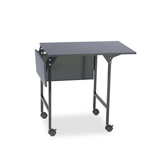 Mobile Machine Stand w Drop Leaves Two-Shelf 36w x 18d x 26.75h Black