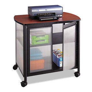 Safco Impromptu Deluxe Machine Stand with Doors 34-3/4 x 25-1/2 x 30-3/4 Black/Cherry