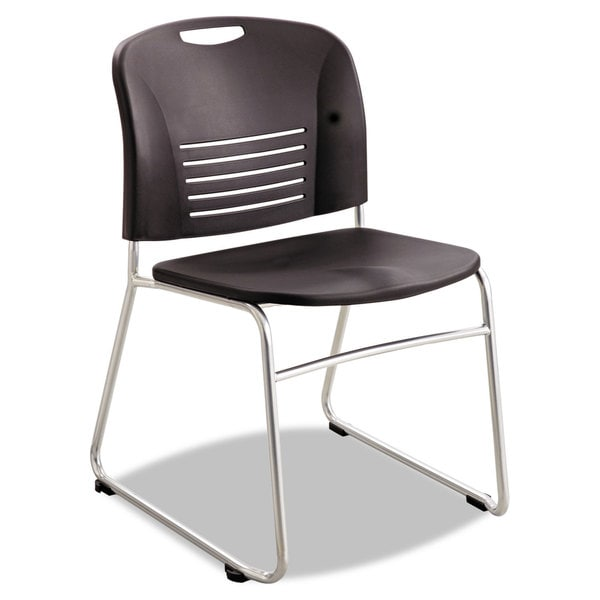 Safco Vy Series Stack Chairs Plastic Back/Seat Sled Base Black 2/Carton