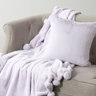 Aurora Home Luxe Faux Fur Throw Pom Pom Blanket and Throw Pillow Cover Set