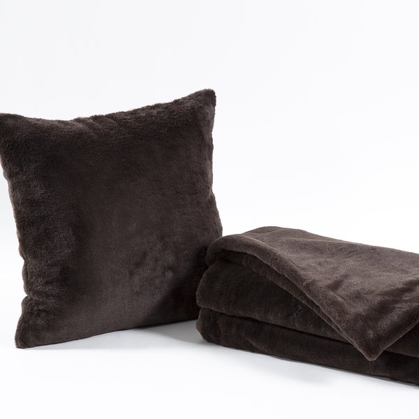Aurora Home Luxe Faux Fur Throw Blanket and Throw Pillow Cover Set
