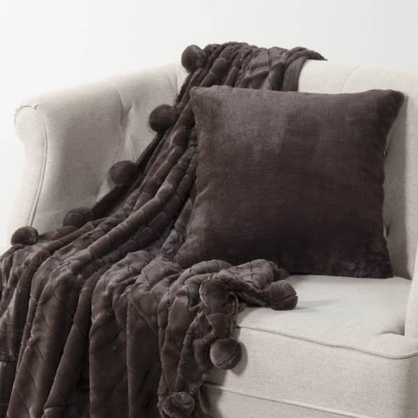 Aurora Home Luxe Mink Faux Fur Throw Pom Blanket And Pillow Cover Set