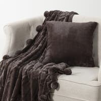 Aurora Home Luxe Mink Faux Fur Throw  Pom Pom Blanket and Throw Pillow Cover Set