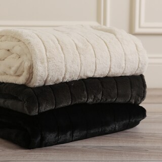 Aurora Home Luxe Mink Faux Fur Throw Blanket and Throw Pillow Cover Set