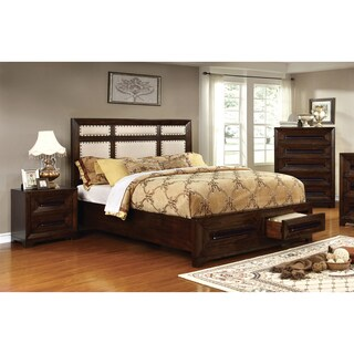 Furniture of America Bradey Simple 3-piece Walnut Ivory Linen Bedroom Set