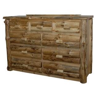 Rustic Pine Half Log 9 Drawer Dresser