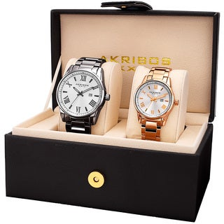 Akribos XXIV His & Hers Quartz Rose-Tone/Gun Stainless Steel Bracelet Watch Set