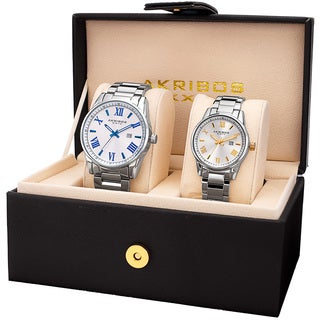 Akribos XXIV His & Hers Quartz Silver-Tone Stainless Steel Bracelet Watch Set with Gift Box