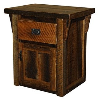 Rustic Natural Reclaimed Urban Distress Stained Barn Wood 1-Door & 1-Drawer Nightstand