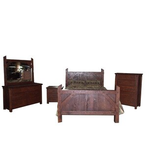 Rustic Rough Cut Red Oak Bedroom Complete Set Amish Made