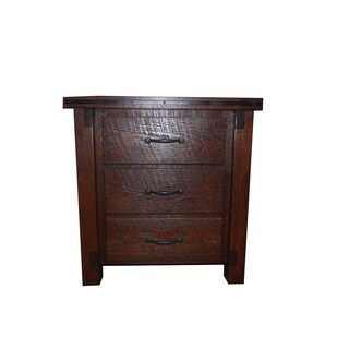 Rough Cut Red Oak 3 Drawer Night Stand- Amish Made