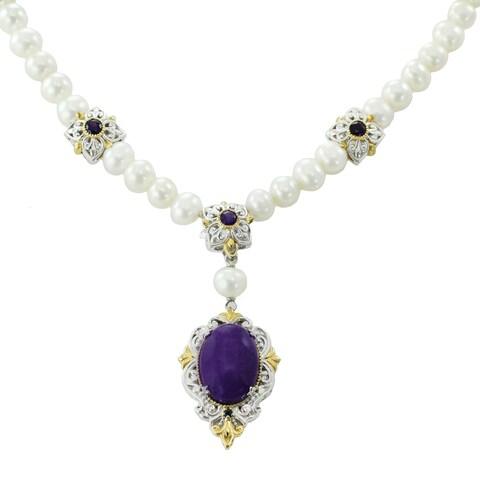 Michael Valitutti Palladium Silver Purple Jade, Amethyst, Blue Sapphire Pearl Necklace