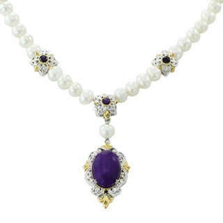 Michael Valitutti Palladium Silver Purple Jade, Amethyst, Blue Sapphire Pearl Necklace