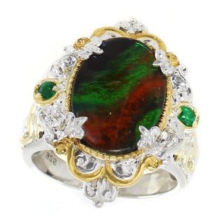 Michael Valitutti Palladium Silver Ammolite, Emerald and White Sapphire Ring