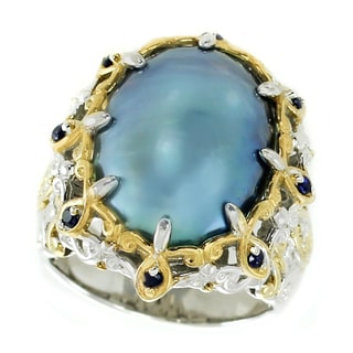 Michael Valitutti Palladium Silver Peacock Mabe Pearl and Blue Sapphire Ring