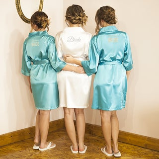 Bride White Satin Robe and Flip-flops (2-piece Set)