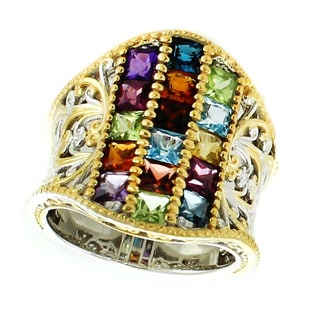 Michael Valitutti Palladium Silver Princess Cut Multi Gemstone Cigar Band Ring