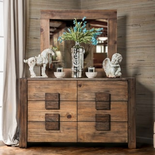 Furniture of America Shaylen 2-piece Rustic Natural Tone Dresser and Mirror Set