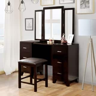 Furniture of America Elrich Modern 2-piece Espresso Tri-fold Mirror Vanity and Stool Set|https://ak1.ostkcdn.com/images/products/13927829/P20560832.jpg?impolicy=medium