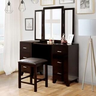 Beau Furniture Of America Elrich Modern 2 Piece Espresso Tri Fold Mirror Vanity  And Stool