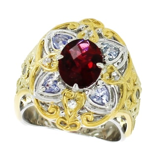 Michael Valitutti Palladium Silver Pink Tourmaline, Tanzanite and White Sapphire Ring