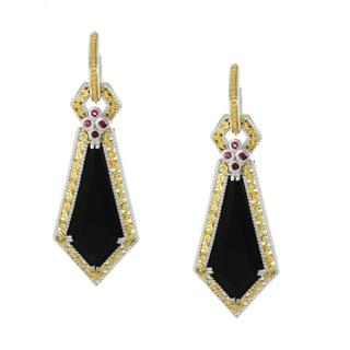 Michael Valitutti Palladium Silver Black Onyx and Ruby Earrings