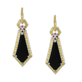 Michael Valitutti Palladium Silver Black Onyx and Ruby Earrings