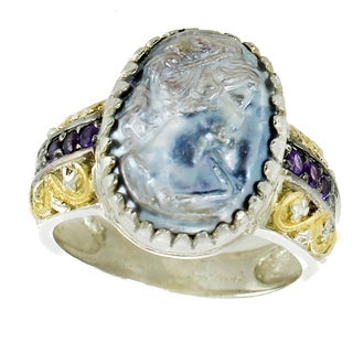 Michael Valitutti Sterling Silver Mabe Cameo, Amethyst and Diamond Ring