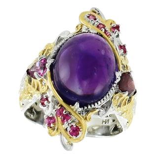 Michael Valitutti Palladium Silver Amethyst, Rhodolite & Pink Sapphire Ring
