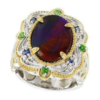 Michael Valitutti Palladium Silver Kaleidoscope Ammolite, Chrome Diopside and light Blue Sapphire Ring