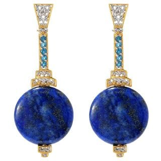 Michael Valitutti Palladium Silver Lapis & London Blue Topaz Elongated Drop Earrings