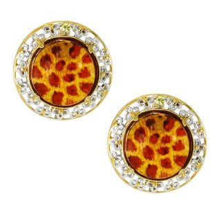 Michael Valitutti Palladium Silver Carved Animal Print Amber and Yellow Sapphire Earrings (Option: Amber)