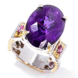 "Michael Valitutti Palladium Silver Amethyst and Rhodolite ""Victress"" Ring"