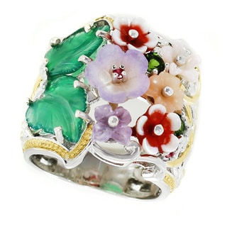 Michael Valitutti Palladium Silver Carved Flower and Leaf Multi Gemstone Ring