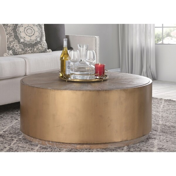 Shop Salsbury Antique Gold Reclaimed Wood Coffee Table By Kosas Home - Overstock wood coffee table